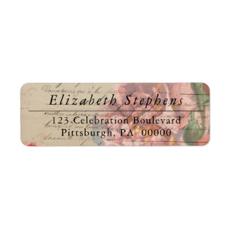 Vintage Romantic French Ephemera Floral Return Address Label