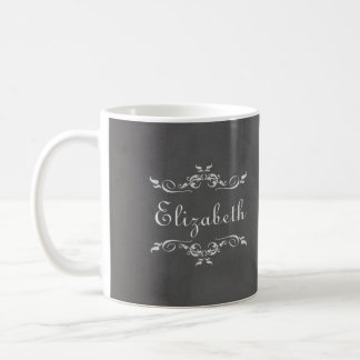 Vintage romantic grey faux chalkboard bridesmaid basic white mug