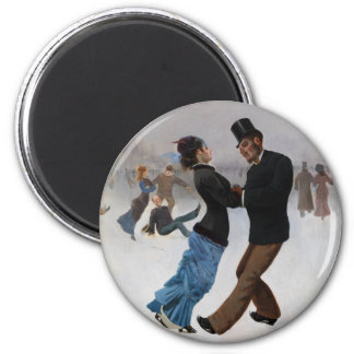 Vintage Romantic Ice Skaters 6 Cm Round Magnet