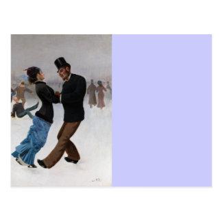 Vintage Romantic Ice Skaters Postcard