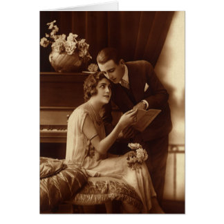 Vintage Romantic Music, Love and Romance Lovers Greeting Card