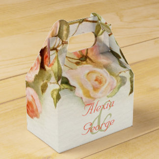 Vintage romantic painting of roses wedding favour box