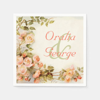 Vintage romantic painting of roses wedding paper napkins