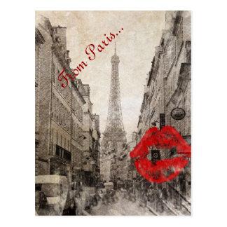 Vintage Romantic Paris Eiffel Tower kiss fashion Postcard