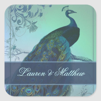 Vintage romantic peacock design square sticker