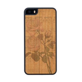 Vintage Romantic pink rose and music score Carved® Cherry iPhone 5 Case