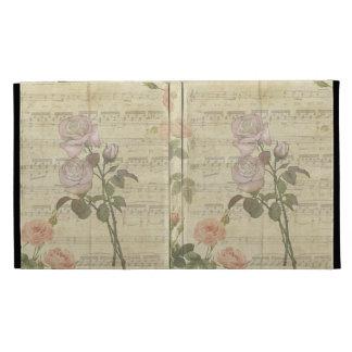 Vintage Romantic pink rose and music score iPad Folio Cases