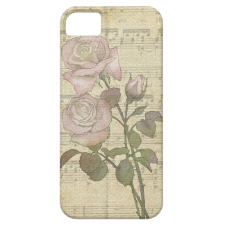 Vintage Romantic pink rose and music score iPhone 5 Covers