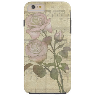 Vintage Romantic Pink Rose and Music Score Tough iPhone 6 Plus Case