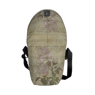 Vintage Romantic pink rose and music score Courier Bags