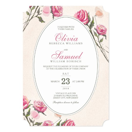 Vintage Romantic Pink Roses Wedding Invitation