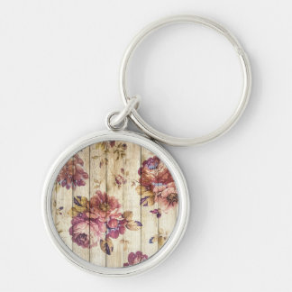 Vintage Romantic Roses on Wooden Wall Silver-Colored Round Key Ring