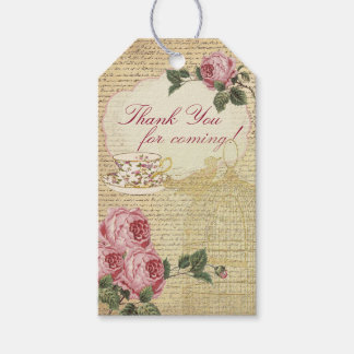 Vintage Romantic Roses Tea Cup and Bird Cage Gift Tags