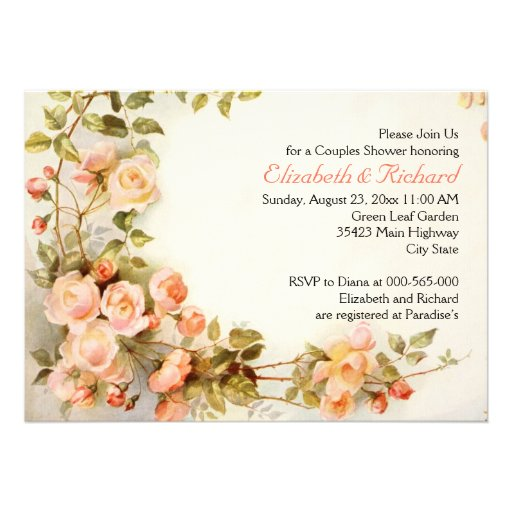 Vintage romantic roses wedding couples shower custom announcements