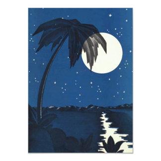 Vintage Romantic Tropical Palm In Moonlight Night 11 Cm X 16 Cm Invitation Card