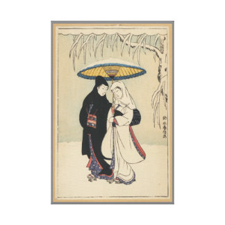 VINTAGE ROMANTIC UMBRELLA JAPANESE COUPLE CANVAS GALLERY WRAP CANVAS