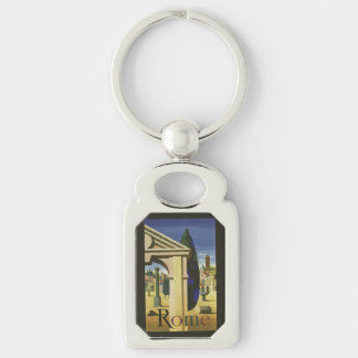 Vintage Rome Italy key chain Silver-Colored Rectangle Key Ring