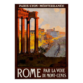 Vintage Rome Italy Travel Poster