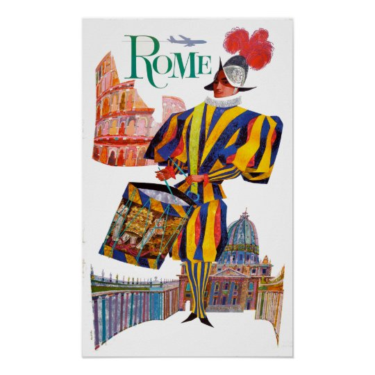 Vintage Rome Travel Swiss Guard Poster