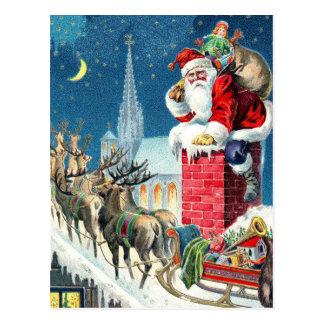 Vintage Rooftop Santa & Sleigh Christmas Postcard