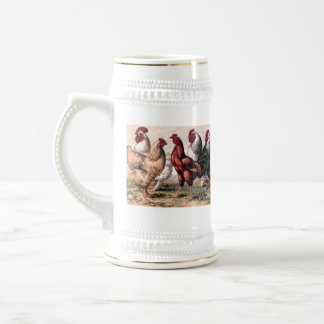 Vintage Rooster and Chickens Country stein