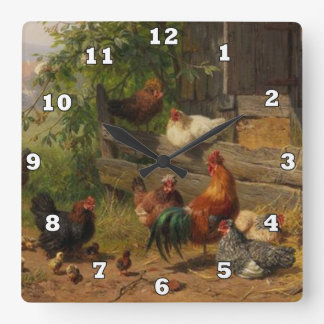 Vintage rooster and chickens Country wall decor Square Wall Clock
