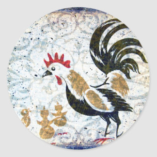 Vintage Rooster and Chicks Classic Round Sticker