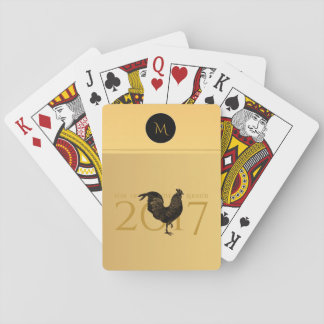 Vintage Rooster Chinese New Year 2017 Monogram P Poker Deck