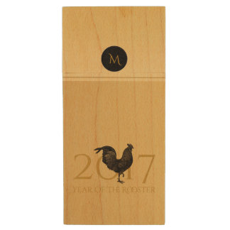 Vintage Rooster Chinese New Year 2017 Monogram USB Wood USB 2.0 Flash Drive