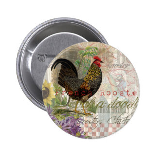 Vintage Rooster French Collage Pinback Buttons