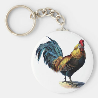 Vintage Rooster Basic Round Button Key Ring
