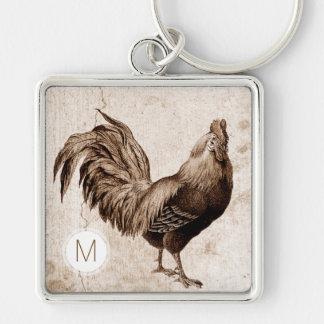 Vintage Rooster Monogram Square Keychain