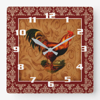 Vintage Rooster on a Rustic damask Pattern Square Wall Clock