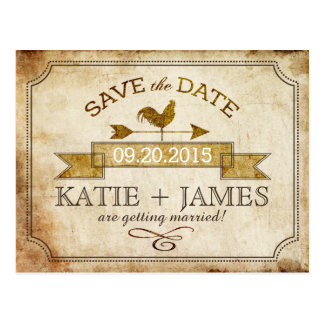 Vintage Rooster Rustic Country Save the Date Postcard