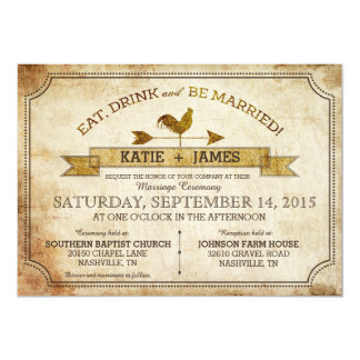 "Vintage Rooster Rustic Country Wedding Invitation 5"" X 7"" Invitation Card"
