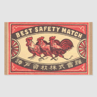Vintage Rooster Safety Match Label
