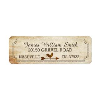 Vintage Rooster Weather Vane Rustic Wedding Label Return Address Label