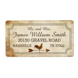 Vintage Rooster Weather Vane Rustic Wedding Label Shipping Label