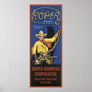 Vintage Roper Crate Label Poster