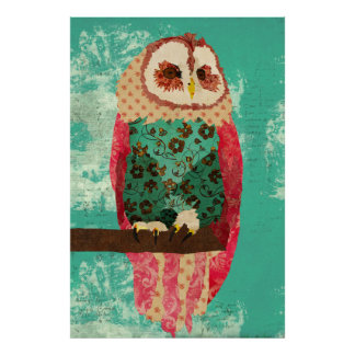 Vintage Rosa Owl Turquoise  Art Poster