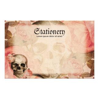 Vintage Rosa Skull Collage Personalized Stationery