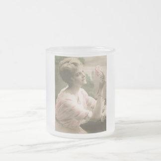 Vintage Rosalee Frosted Glass Mug