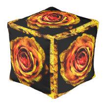 Vintage Rose 1 Cube Pouffe