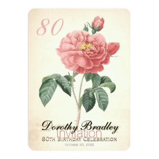 Vintage Rose 80th Birthday Celebration Custom Card