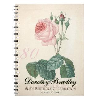 Vintage Rose 80th Birthday Celebration Guest Book
