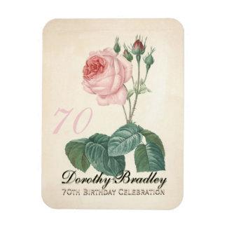 Vintage Rose 80th Birthday Celebration - Rectangular Photo Magnet