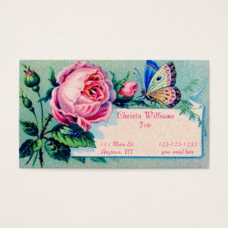 Vintage Rose and Butterfly Business Card