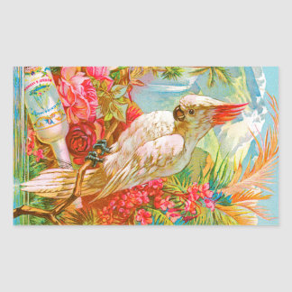 Vintage Rose and Cockatoo Rectangular Sticker