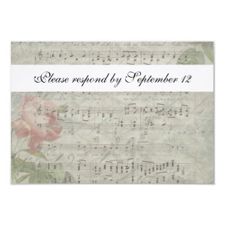 Vintage Rose and Music rsvp with envelope Card