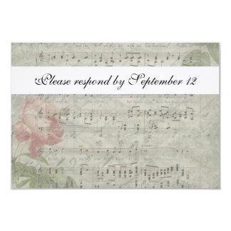 Vintage Rose and Music rsvp with envelope 9 Cm X 13 Cm Invitation Card